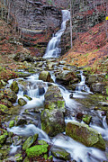 Midland Virginia Posters - Cathedral Falls in Autumn Poster by Mary Almond