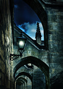 Night Lamp Posters - Cathedral Lamp in the Evening Poster by Jill Battaglia