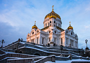 Russian Cross Photos - Cathedral of Christ the Savior at winter sunset - Featured 2 by Alexander Senin