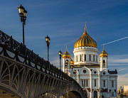 Russian Cross Photo Framed Prints - Cathedral of Christ the Savior in Moscow - Featured 3 Framed Print by Alexander Senin