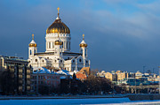 Russian Orthodox Posters - Cathedral Of Christ The Savior In wintrertime Poster by Alexander Senin