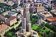 Pittsburgh Pirates Prints - Cathedral of Learning Aerial Print by Mattucci Photography