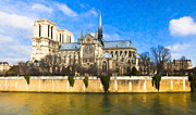 Historic Site Digital Art Framed Prints - Cathedral of Notre Dame de Paris On the Seine Framed Print by Mark E Tisdale