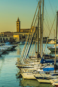 Boats Pyrography Prints - Cathedral of Trani Print by Gianluca Pisano