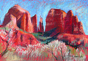 Cathedral Rock Paintings - Cathedral Rock On Red Paper by Linda Novick