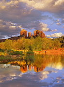 Red Rock Crossing Framed Prints - Cathedral Rock Reflected In Oak Creek Framed Print by Tim Fitzharris