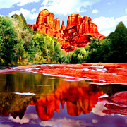 Point Park Digital Art Posters - Cathedral Rock Sedona Arizona Poster by Nadine and Bob Johnston