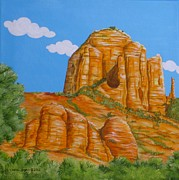 Cathedral Rock Paintings - Cathedral Rock Sedona AZ Left by Carol Sabo