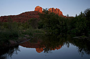 Red Rock Crossing Framed Prints - Cathedral Rock Sunset Reflection 1 Framed Print by Lee Kirchhevel