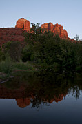 Red Rock Crossing Framed Prints - Cathedral Rock Sunset Reflection 2 Framed Print by Lee Kirchhevel