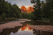 Red Rock Crossing Framed Prints - Cathedral Rock Sunset Reflection 4 Framed Print by Lee Kirchhevel