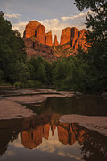 Red Rock Crossing Framed Prints - Cathedral Rock Sunset Reflection 5 Framed Print by Lee Kirchhevel
