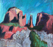 Cathedral Rock Paintings - Cathedral Rock With Gray Trees by Linda Novick