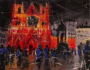 Crowds Painting Originals - Cathedral Saint Jean-baptiste In Lyon by EMONA Art