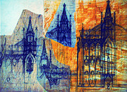 Spire Drawings Posters - Cathedral Sketches Poster by Carol Pietrantoni
