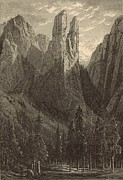 Yosemite Drawings - Cathedral Spires 1873 Engraving by Antique Engravings