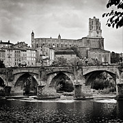 Sainte Cecile Prints - Cathedral St Cecile and the old bridge over the river Tarn at Albi France Europe Print by Jon Boyes