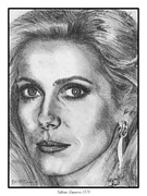 Catherine White Drawings Framed Prints - Catherine Deneuve in 1976 Framed Print by J McCombie