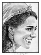 Catherine White Drawings Framed Prints - Catherine - Duchess of Cambridge in 2011 Framed Print by J McCombie