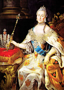 Catherine Ii Framed Prints - Catherine the Great 1760 Framed Print by Li   van Saathoff