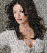 Catherine Digital Art Framed Prints - Catherine Zeta Jones Mosaic Framed Print by Bijan Habashi