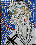 Catholic Glass Art - Catholic Priest Detail from a larger mosaic from Ravenna Italy by Azalea Martin
