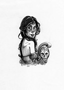 Sugar Skull Drawings Posters - Catrina and Skull Poster by Shari Mallinson