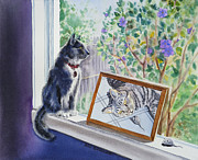 Cat Portraits Prints - Cats And Mice Sweet Memories Print by Irina Sztukowski