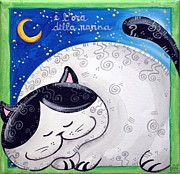 Bedtime Stories Prints - Cats Bedtime Print by Raffaella Di Vaio