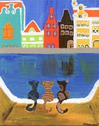 Cartoons Paintings - Cats Enjoying the View by Melissa Vijay Bharwani