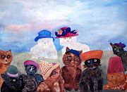 Fedora Paintings - Cats in Hats by Sandy McIntire