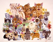 Domestic Animals Paintings - Cats by John YATO