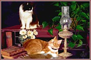 Desk Digital Art Prints - Cats on a Desk Print by Ronald Chambers