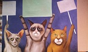Leah Saulnier The Painting Maniac - Cats On Strike work in progress