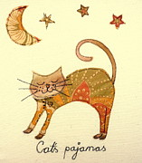 Humor Tapestries - Textiles Prints - Cats pajamas Print by Hazel Millington