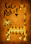 Striped Cat Framed Prints - Cats Rule Framed Print by Brenda Bryant