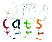 Patricia Overmoyer - Cats with Paint Cans