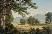 Dark Green Framed Prints - Catskill Meadows in Summer Framed Print by Asher Brown Durand