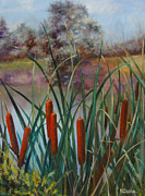 Cattail Paintings - Cattail by Karen Cade