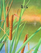 Cattail Paintings - Cattails and Dragonflies by Phillip  Powell