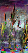 Fireflies Prints - Cattails and Fireflies Print by Ginette Callaway
