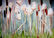 Cattail Paintings - Cattails by Sandy McIntire
