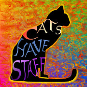 Noir Digital Art - Cattitude No.2 -- Cats Have Staff by Carmen Hathaway