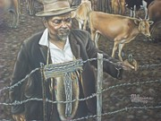 Mending Fence Posters - Cattle and African Rancher Poster by Michael Briere