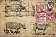 Postage Stamps Prints - Cattle Arrived Print by Carol Leigh