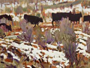 Cattle Paintings - Cattle by Brian Simons