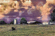 Farming Barns Digital Art Posters - Cattle Country Sunset Poster by Barry Jones