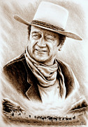 John Wayne Drawings Posters - Cattle Drive Sepia soft Poster by Andrew Read