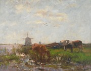Moo Moo Paintings - Cattle Grazing by Willem Maris