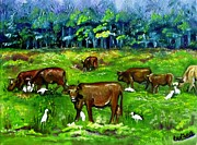 Carol Allen Anfinsen Metal Prints - Cattle Grazing with Egrets Metal Print by Carol Allen Anfinsen